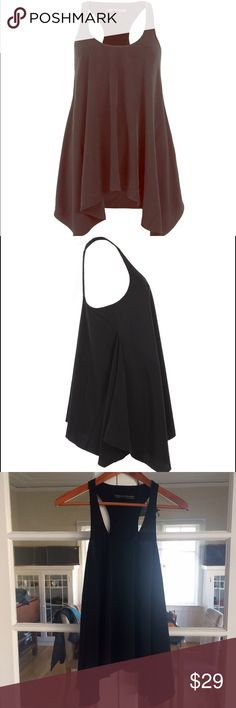 All Saints Cruciform Racer Vest US 2 Allsaints racerback black tank. Very flowy and flirtatious. Feels like silk, but it's polyester. Just hung in my closet. Too small for me. Like new ~ only blemish is a tiny tiny hole which I think is from ironing. See last photo. Dry clean only. Size 2 US / 6 UK All Saints Tops Tank Tops