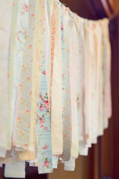 fabric garland from a shabby chic 1st birthday party
