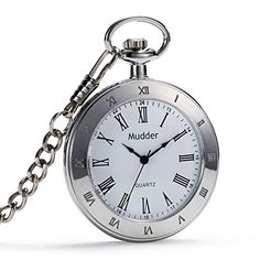 Mudder Antique Style Silver Quartz Pocket Watch Chain -- You can find more details by visiting the image link.