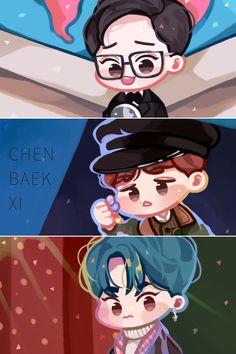 #EXO #CHENBAEKXI #베개 Exo Kokobop, Kpop Exo, Chanyeol, Exo Cbx The One, Exo Stickers, Exo Fan Art, Kim Minseok, Xiuchen, Kpop Fanart