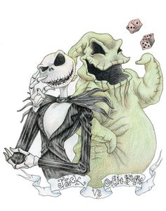 Disney's The Nightmare Before Christmas Christmas Jack Skellington & Oogie Boogie Arte Tim Burton, Tim Burton Kunst, Tim Burton Style, Tim Burton Films, Jack Tim Burton, Halloween Tattoo, Halloween Town, Halloween Witches, Happy Halloween