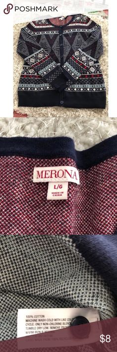 Cardigan Sweater by Merona Large Red, white and blue cardigan sweater.  Button front.  From Merona.  Size large.  Good condition.  Important:   All items are freshly laundered as applicable prior to shipping (new items and shoes excluded).  Not all my items are from pet/smoke free homes.  Price is reduced to reflect this!   Thank you for looking! Merona Sweaters Cardigans
