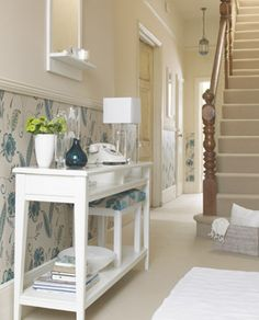 Hallway Decorating Ideas -  I love everything about this!! Dado rail, wallpaper, colours, carpets and stairs <3