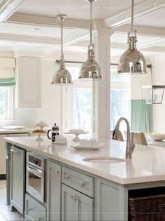When I saw this stunning kitchen done by interior designer, Tobi Fairley , featured over at House of Turquoise , I knew I had to share it. House Of Turquoise, Kitchen Pendant Lighting, Kitchen Pendants, Pendant Lamps, Chandelier, Elegant Kitchens, Beautiful Kitchens, Kitchen And Bath, New Kitchen