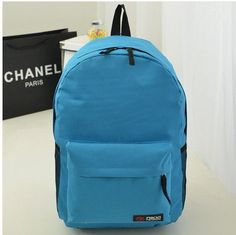 Pure Color Korean Style Casual Backpack School Travel Bag
