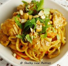 The Life & Loves of Grumpy's Honeybunch: Thai Peanut Chicken and Noodles use rice noodles and wheat free tamari for soy sauce