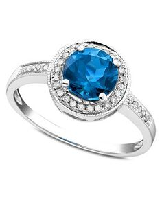 14k White Gold Ring, Blue Topaz (1-5/8 ct. t.w.) and Diamond (1/8 ct. t.w.)