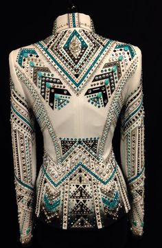 Maybe a bit to busy for my liking. but I am in love with rhe colors! Real, Black, and white Dry Creek Designs showmanship jacket. I want something like this in the future Rodeo Outfits, Equestrian Outfits, Western Outfits, Western Wear, Western Show Shirts, Western Show Clothes, Horse Show Clothes, Riding Clothes, Estilo Fashion