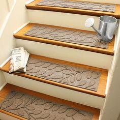 Bungalow Flooring Aqua Shield Camel Brittany Leaf Stair Tread