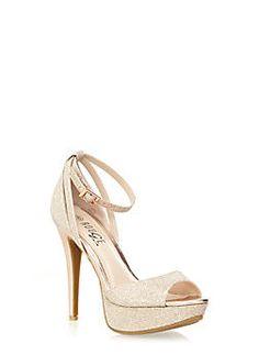 Ankle-Strap Peep Toe Platform Heels with Glitter Trim,ROSE GOLD