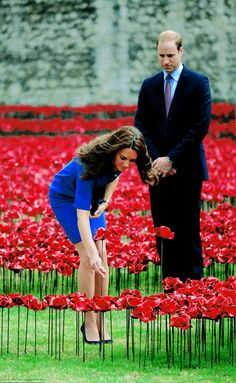 Kate & William plant a ceramic poppy at The Tower of London, August 5th 2014.