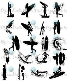 20 Surfer Silhouettes Clip Art / Surfer Girl / png by DigitalNeeds