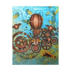 Steampunk Collage Aqua & Copper Canvas Print This digital collage has a steampunk theme and features a variety of elements including hot air balloons, vines and flowers, and of course - gears and wheels. Graffiti Lettering, Typography Prints, Abstract Sculpture, Sculpture Art, Metal Sculptures, Steampunk Theme, Steampunk Gears, Mermaid Artwork, Sidewalk Chalk Art