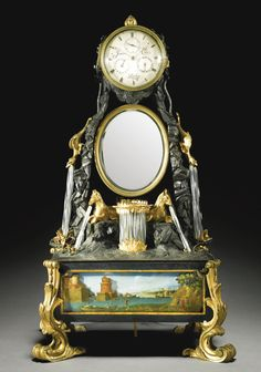Sotheby's James Cox. A gilt and patinated bronze musical automaton table clock, London, circa 1775 3¾-inch silvered dial with subsidiary seconds, date and day dials, signed James Cox, London, two train fusee and chain movement quarter striking on two bells, lever platform escapement, foliate engraved backplate, the drum supported by a flower and rocaille frame above an oval mirror and an arrangement of gryphons and hippocampi with spiral glass simulated water features.