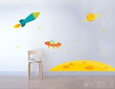 Invaders+from+Outer+Space+Wall+Decal+Scene++Childrens+by+DecalLab,+$118.00