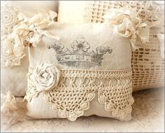 Crown pillow ~ cute embellishments..tattered corners...lace with cloth flower