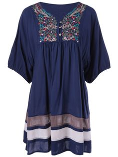Ethnic Style V-Neck Embroidered Loose Dress #comfy #casual #embroidered…