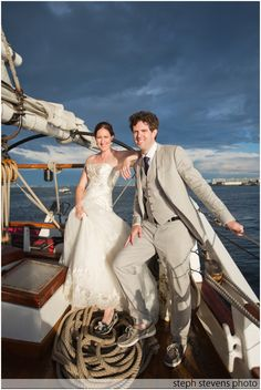 Liberty Clipper Sailing Ship Wedding . Boston Harbor