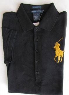 NWT Ralph Lauren Short Sleeve Skinny Polo Shirt Big Pony Black w/Gold Embroidery #RalphLauren #PoloShirt