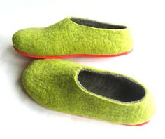 Watermelon. Mens Red Sole Felt Wool Shoes Green . Non Slip Outdoor Indoor. In Case of Cold Feet. Minimalist. Made to order. $111.00, via Etsy.