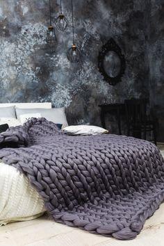 :) by KnitTendance Big Knit Blanket, Chunky Blanket, Chunky Knit Throw, Chunky Wool, Knitted Blankets, Merino Wool Blanket, Big Knits, Cozy Blankets, Sheep Wool