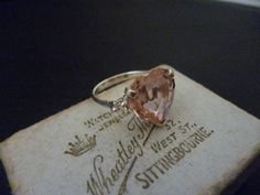 A sterling silver and pink heart CZ 'Mum' ring - 925 - sparkly - Pink - 'Mum' - UK L - US 5.75 by MalvernJewellery on Etsy