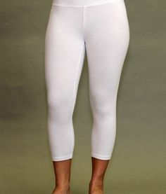 Finally, White Yoga Pants that are not see through. Crop legging. Kundalini Yoga. All white. Heavy weight, 100% Organic Cotton. XS-XXL. Made in Southern California.