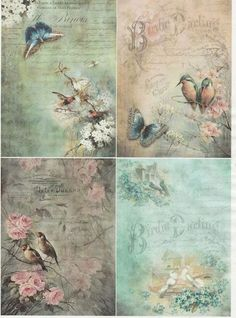 Rice Decoupage Paper -Birds and Butterflies with Flowers and Old Writings . Rice paper is the best paper to use for decoupage. Papel Vintage, Decoupage Vintage, Vintage Ephemera, Vintage Paper Crafts, Vintage Prints, Vintage Art, Watercolor Clipart, Decoupage Tissue Paper, Etiquette Vintage
