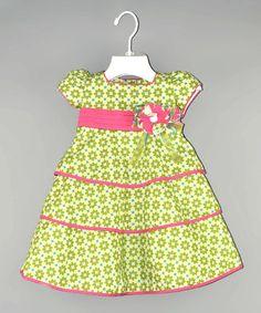 Look at this #zulilyfind! Lime & Pink Flower Babydoll Dress - Infant & Toddler #zulilyfinds