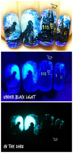 Dementors in Hogwarts ⎮ Harry Potter ⎮ Glow in the Dark Freehand Nail Art…