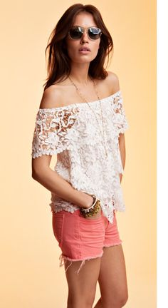 Not usually a lace girl, but this off-the-shoulder number from Miguelina has serious sex appeal.