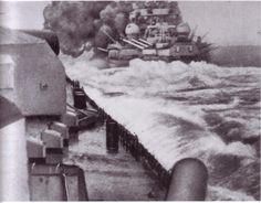 German battle cruiser Gneisenau firing on HMS Glorious, 1940.