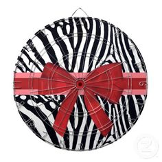 Zebra Stripes with Red Ribbon and bow Pattern Dartboard