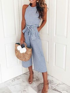 2f1030feefe Striped Waist Belted Wide Leg Jumpsuit Trendy Clothing