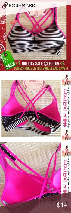 """🌿Push-up sports bra polka-dot, striped and pink NWT. 💐Junior size L. Cute and comfy with a little extra oomph. 💐Features a banded bottom (13.5"""" W laying flat), racerback/caged back straps and a padded cup for uplifting support. Approx. 12"""" L from top of strap to band)💐❗️Smoke-free❗️No trades.  💐PRODUCT FEATURES: ✔️Low-impact support ✔️Push-up design ✔️Colorblock styling ✔️Breathable mesh racerback ✔️Wire free 💐FABRIC & CARE: ✔️Polyester, spandex ✔️Hand wash ✔️Imported So Intimates…"""