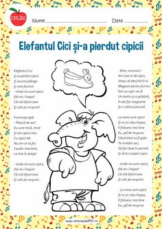 Elefantul Cici Preschool Worksheets, Preschool Activities, Tot School, School Lessons, Teaching Music, School Humor, Kids Reading, Kids Education, Nursery Rhymes