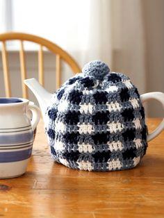 Gingham Tea Cozies   Yarn   Free Knitting Patterns   Crochet Patterns   Yarnspirations