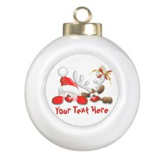 Funny Santa and Reindeer Cartoon Ornament