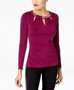 Thalia Sodi Embellished Keyhole Top, Created for Macy's - Purple XXL
