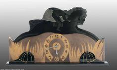 An Art Deco acid etched glass clock, France 1930s.