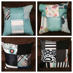 Theresa re-used her old fabric swatches to make pillows!