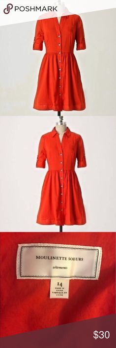 Moulinette Soeurs red button down dress This dress is absolutely gorgeous but doesn't fit me any longer. Purchased from Anthropologie! There is a small stain on the bottom of the right side, as pictured. Priced accordingly. Anthropologie Dresses