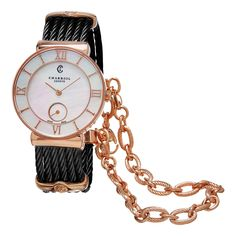 Shop for Charriol Women's 'St Tropez' Mother of Pearl Dial Stainless Steel Swiss Quartz Watch. Get free delivery On EVERYTHING* Overstock - Your Online Watches Store! Philippe Charriol, Versace, Jewelry Gifts, Fine Jewelry, Online Watch Store, Black Stainless Steel, Quartz Watch, Watch Bands, Gold Watch