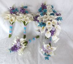 wedding bouquet lily | Reserved Calla lily wedding bouquet calla liliy tiffany blue and lilac ...