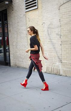 plaid + red suede wedge heels