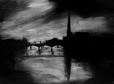 A john virtue inspired piece of the view from the millennium bridge in London.