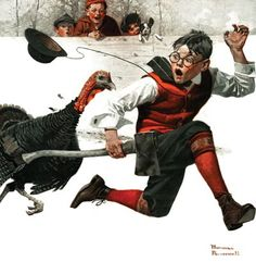 Happy #Thanksgiving everyone! • • • Cousin Reginald Catches the Thanksgiving Turkey (The Country Gentleman, December 1, 1917) by Norman Rockwell
