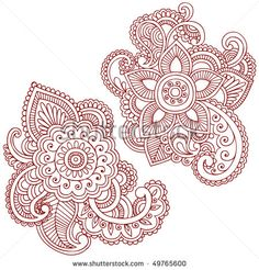 Hand-Drawn Abstract Henna (mehndi) Paisley Doodle Vector Illustration Design Elements