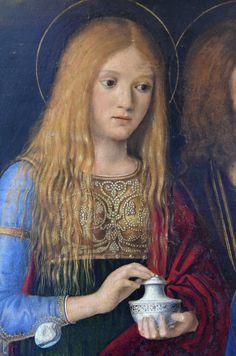 Detail of Mary Magdalene, Pasqualino Veneto St Magdalena, Santa Maria Magdalena, Renaissance Paintings, Renaissance Art, Medieval Art, Catholic Art, Religious Art, Mary Of Bethany, Lady Madonna
