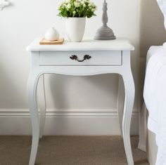 Chateau white french bedside table shabby chic bedside tables french style bedside table french provincial bedroomwhite bedside tableshampton watchthetrailerfo